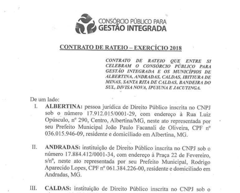 Contrato de Rateio - Exercício 2018