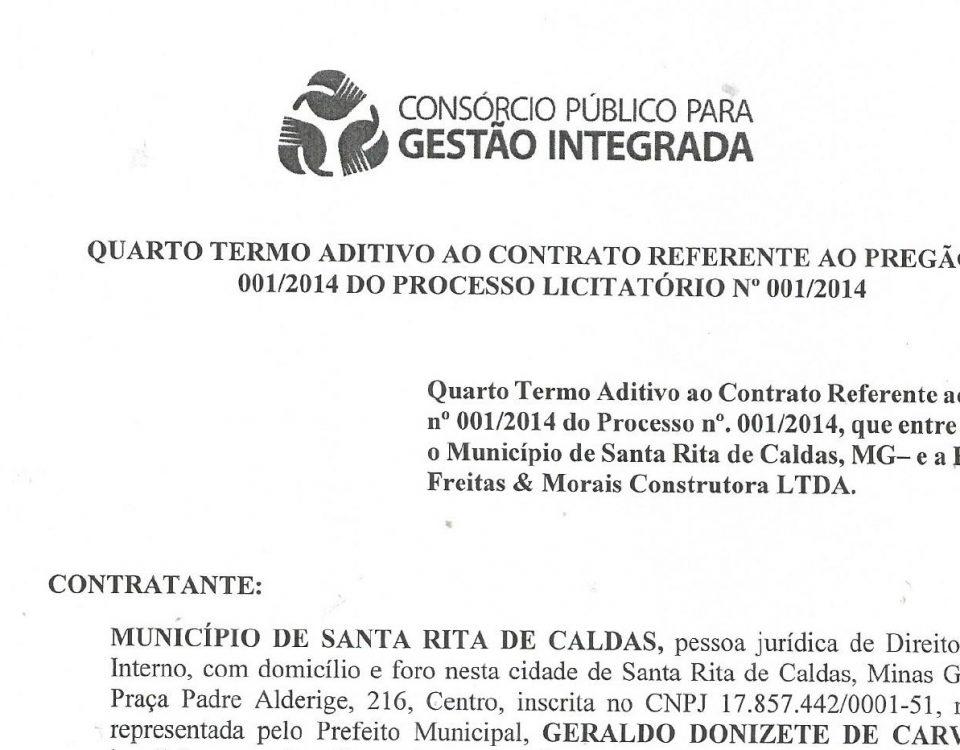 4º Termo Aditivo ao Contrato Freitas & Morais Santa Rita de Caldas